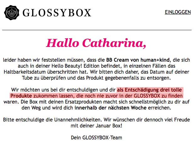 Glossybox Ersatzprodukte